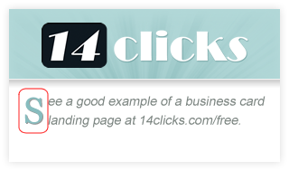 14 Clicks Business Card Drop Cap