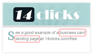 14 Clicks Business Card Landing Page